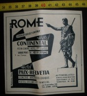 PUBLICITE HOTEL CONTINENTAL A ROME PAIX HELVETIA CENTRE ARCHEOLOGIQUE - Old Paper