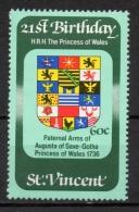 St. Vincent 1982 - Stemma Di Augusta Di Saxe-Gotha Principessa Del Galles, Arms Princess Of Wales MNH ** - St.Vincent (1979-...)