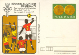 Ganzsache Postkarte Volleyball Polen Olympische Spiele 1976 Polska Poland Sport Olympia Olympic Games  Volley-ball - Stamped Stationery