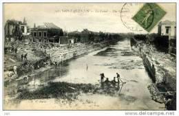 02 - SAINT QUENTIN - Le Canal - (Travaux Dans Le Canal  Hommes Au Travail) - Saint Quentin