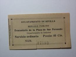 Evacuatório De La Plaza De San Fernando, Sevilla - Billete De Entrada / Public WC - Plaza San Fernando Seville - Tickets - Entradas