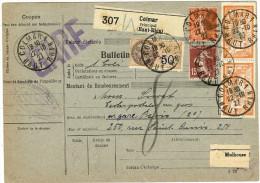 COLIS POSTAL D'ALSACE - FISCAL 0f50 AVEC MERSON 2fx2 COLMAR 22/10/1927 - Elzas-Lotharingen