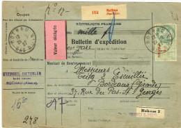 COLIS POSTAL D'ALSACE - FISCAL 1f AVEC MERSON 5fx2+3f+2f ROTHAU 29/9/1927 - Elzas-Lotharingen