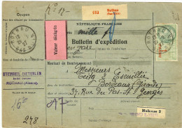 COLIS POSTAL D'ALSACE - FISCAL 1f AVEC MERSON 5fx2+3f+2f ROTHAU 29/9/1927 - Alsace-Lorraine