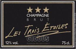 Etiquette Champagne  - BRUT - Les Trois Etoiles - Globus - Champagne