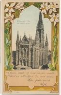 Mulhausen Die Evang. Kirche Art Nouveau 1901 Timbre Train Bahnpost Altmunsterol Montreux Vieux - Mulhouse