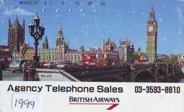 Télécarte Japon * BRITISH AIRWAYS (1999) Japan Phonecard Airplane * Flugzeug Avion * AVION * AIRLINES * - Flugzeuge