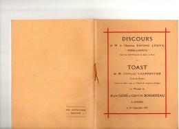 Angers 1929  Goxe    Bordereau  Loutil Pierre L'ermite Charpentier Dédicace  Autographe Discourt Toast - Annunci Di Nozze