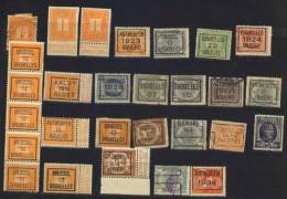 Belgien Kleines Lot Eisenbahn- Bzw. Bahnhofs-Aufdrucke Preobliteres Vorausentwertungen,von Ca. 1914 Bis 1934 - 1915-1921