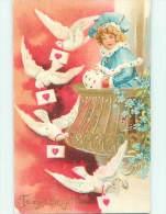 Pre-1907 Valentine GIRL WATCHES DOVE BIRDS DELIVER LETTERS R3942 - Valentine's Day