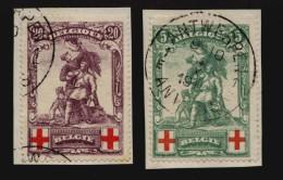 Belgien Mi.N° 104+06 Rotes Kreuz 2 X Auf Briefstück Sur Fragment Abgestempelt In Antwerpen 4. X. 191? - 1914-1915 Rotes Kreuz