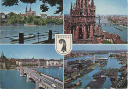 AK Basel Brücke Dom Strassenbahn Tram Hafen Port Schweiz Suisse - BS Bâle-Ville
