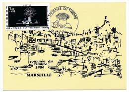 FRANCE => MARSEILLE - 1,30 + 0,30 - Journée Du Timbre 1980 - La Lettre A Mélie - Carte Locale - Stamp's Day