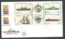 1978 ITALIA FDC FILAGRANO BLOCCO NAVI NO TIMBRO DI ARRIVO - FDC - 6. 1946-.. Repubblica