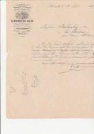 FACTURE TIMBREE AVEC N° 22 - VERRERIE ET CRISTAUX-E MUSSURI DE ROZAN -MARSEILLE -1869 - France