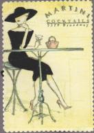 MARTINI COCKTAILS  (particularité De Cette Carte : La Robe Et Le Chapeau Sont Tout Brodés De Fil De Couleur) - Fashion