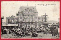 50 CHERBOURG - La Place Du Chateau Et Le Théatre - Cherbourg