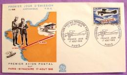 Premier Jour - 1ère Liaison Postale Régulière Par Avion 1968 - Paris PHOTO RECTO VERSO - FDC