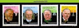 Ncf004 BEROEMDE PERSONEN MEDISCHE ONDERZOEKERS MEDICAL RESEARCHERS FAMOUS PEOPLE TRANSKEI 1985 PF/MNH - Onderzoekers