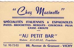 ALLIER   @@    VICHY   **   CHEZ MARINETTE  ** AU PETIT BAR - Cartes De Visite
