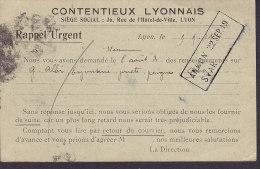 France Postal Stationery Ganzsache Entier Semeuse PRINT PRIVÉ, CONTENTIEUX LYONNAIS, LYON 1919 To Finland (2 Scans) - Ganzsachen