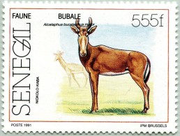 N° Michel 1130 (N° Yvert 905) - Timbre Du Senegal (1991) - (MNH) - Western Hartebeest Of Niokolo (JS) - Sénégal (1960-...)