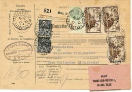 COLIS POSTAL D'ALSACE - FISCAL 1f AVEC MONUMENTS  5f  X3  METZ 19/12/1931 - Alsace-Lorraine
