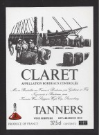 Etiquette   -    Claret  -   Bordeaux   -   ND Années 80  ?  -  Thème Bateau  -  37.5 Cl - Bordeaux