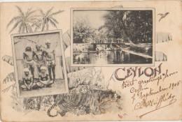 CPA CEYLAN CEYLON Greetings From 2 Views Timbre Stamp 1905 - Sri Lanka (Ceylon)
