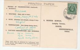 1935 LYMM Warrington CDS Pmk COVER Postcard METEOROLOGY Report WEATHER STATION Re THUNDERSTORM Gb Gv Stamps - Brieven En Documenten