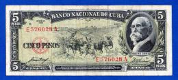 Cuba 5 Pesos 1958 Pick 91a Maximo Gomez AVF - Cuba