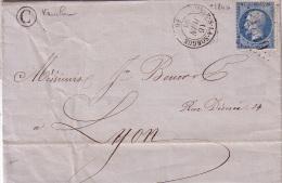VAUCLUSE - L'ISLE SUR SORGUES - 16-6-1863 - N°22 OBLITERATION GC1849 - BOITE RURALE C DE VAUCLUSE. - Marcophilie (Lettres)