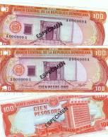 DOMINICAN NOTE 100 PESOS ORO SPECIMEN 1977 P 122s1 UNC - Dominicaine