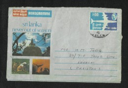 Ceylon Sri Lanka 1976 Air Mail Postal Used Aerogramme Cover Sri Lanka  To Pakistan Picture Airplane Animal  Tea Sea - Sri Lanka (Ceylan) (1948-...)