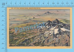 CPSM,Volcanos (Air View, Cascade Range, Oregon To Washington Mountain Chain ) Linen Postcard Recto/Verso - Autres