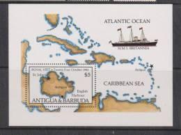 Antigua 1985 Royal Visit Miniature Sheet MNH - Map & Yacht - Antigua And Barbuda (1981-...)
