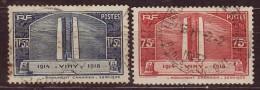 FRANCE - 1936 - YT  N°316 / 317  -oblitérés - Viny - France