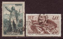 FRANCE - 1936 - YT  N°314 / 315  -oblitérés - Rouget De Lisle - France