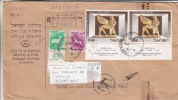 Israël - Lettre Recommandée De1966 - Oblitération Tel Aviv - Yafo - Signes Du Zodiac - Vignette Douane - Brieven En Documenten