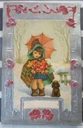 Litho Illustrateur Fille Fillette Sous Parapluie Et Chien Ajoutis Decoupis Gros Bord Relief Art Nouveau Argent - A Systèmes