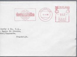 HILVERSUM 1968 Tarif 12c Machine P R 2144 Illustration Documentation Gloge Terrestre Grand Fragment - Marcofilie - EMA (Print Machine)