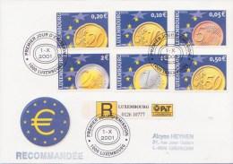 ** L'EURO - Pièces De 0,05 - 0,10 - 0,20 - 0,50 - 1,00 - 2,00 E ** Yvrt N°1497/1502  FDC Recommandé Du LUXEMBOURG 2001 - Monnaies