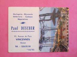 Petit Calendrier 1965 - Horlogerie Bijouterie à Vincennes - Houlgate Jardin Calvados - Petit Format : 1961-70