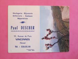 Petit Calendrier 1965 - Horlogerie Bijouterie à Vincennes - Corte Col De Pentone (Corse) - Petit Format : 1961-70