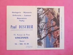 Petit Calendrier 1962 - Horlogerie Bijouterie à Vincennes - Environs De Saint-Raphael - Calendriers