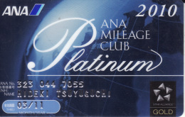 Japan Membercard  ANA Mileage Club Platinum Airline - Vliegtuigen