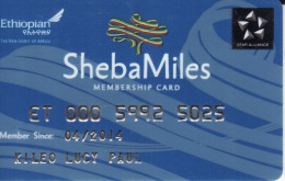 Ethiopian Membercard  Airline Sheba Miles - Vliegtuigen