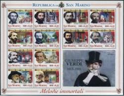 2001 San Marino, 100° Anniversario Morte Giuseppe Verdi Foglietto, Serie Completa Nuova (**) AL FACCIALE - Blocchi & Foglietti