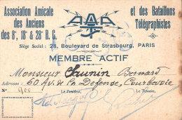 CARTE ASSOCIATION AMICALE ANCIENS BATAILLON TELEGRAPHISTE REGIMENT GENIE TRANSMISSIONS RADIO GUERRE 1914