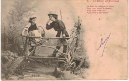 THMS Bergeret Lot De 4 Cartes Le Droit De Passage, Enfants, Chasseur (manque Le N°1) - Bergeret